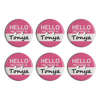 Tonya Hello My Name Is Plastic Resin Button Set of 6