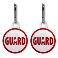 LIFEGUARD Rescue Ocean Swimming Pool Safety 2-Pack 1 inch White Zipper Pull Charms