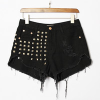 2015 Women's High Waisted Ripped Jeans Shorts Punk Tassel Shorts Vintage Rivet Sexy denim Shorts Plus size 4XL