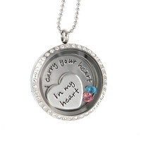 Floating Locket - I carry Your Heart in My Heart  - Crystal Living Locket