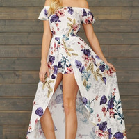 Off the Shoulder Floral Romper Maxi