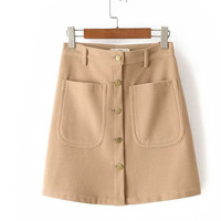 Button Front with Front Pockets A-line Mini Skirt in Wool Mix