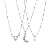 Pave Crescent, Opal & Triangle 3-Pack Necklace Set