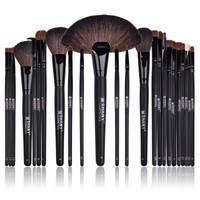 Studio Quality Natural Cosmetic Brush Set with Leather Pouch, 24 Count - BRUSHES