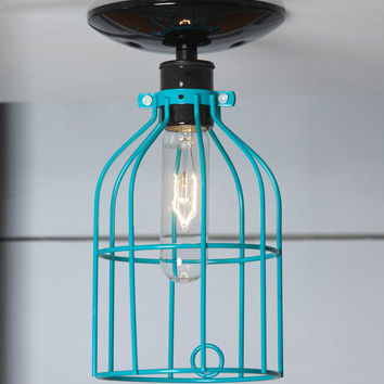Industrial Lighting - Turquoise Blue Cage Light - Ceiling Mount