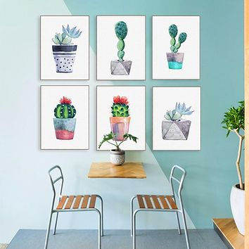 Watercolor Succulent Plant Cactus Poster Nordic Canvas Painting Wall Picture