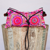 Crossbody Embroidered Pom Tote
