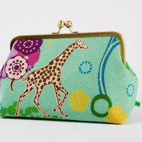 Cosmetic pouch - Echino Quiet ground in turquoise - metal frame clutch bag