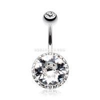 Grand Sparkle Rays Belly Button Ring (Clear)