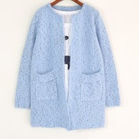 Long Sleeve Cat Hair Knit Point Cardigan Outerwear