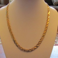 "14k Gold Electroplate JC Lind Double Herringbone Flat Twist Chain Necklace 17-3/4""x 1/4"""