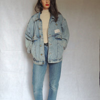 80s 90s Vintage Denim Jacket with Patches Washed Blue Jeans Oversized Tomboy Slouchy Denim Jacket