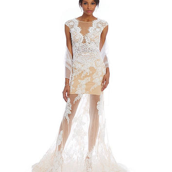Terani Couture Scalloped Illusion Lace Gown | Dillards
