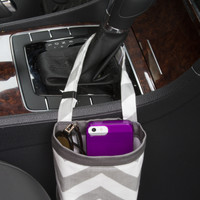 Car Cellphone Caddy ~ Gray Chevron ~ Gray Band ~ Center Console Handle