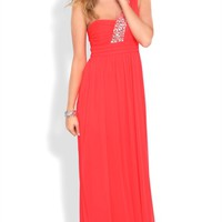 Dress with One Shoulder Strap with Stone Accents