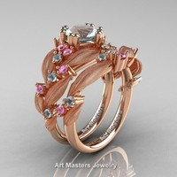 Nature Classic 14K Rose Gold 1.0 Ct Aquamarine Light Pink Sapphire Leaf and Vine Engagement Ring Wedding Band Set R340SS-14KRGLPSAQ