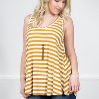Dusty Striped Sleeveless Top   Gold