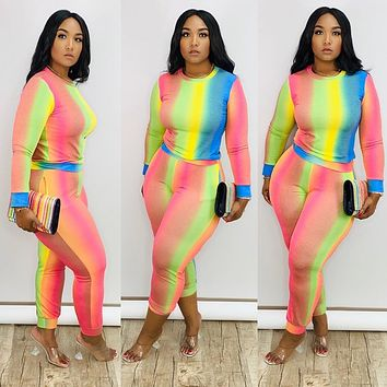 2020 new women's fashion all-match color sports and leisure long two-piece suit