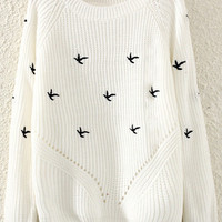 White Animal Embroidered Sweater