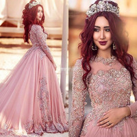 2016 Gorgeous New Design Beads Lace Evening Dress Arabic Prom Gowns Full Sleeve Formal Party Wear Plus Size