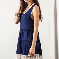Umgee Navy Blue Tiered Tank Dress with Lace Trim