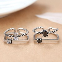 Stylish Jewelry Shiny New Arrival Gift 925 Silver Vintage Double-layered Accessory Ring [7652916295]