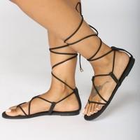 Coastline Wrap Sandals - Black