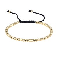 Glossy 14k Gold Tone Bracelet Bead Ball Link New Braided Lock