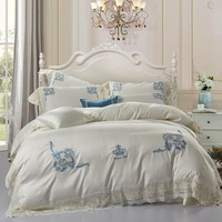 2018 Egyptian cotton bed linen lace bedding sets luxury Crown embroidery bed sheet set gift adult bedding set queen/king size