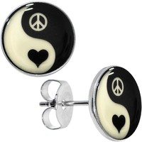 Yin Yang Peace Heart Glow in the Dark Stud Earrings