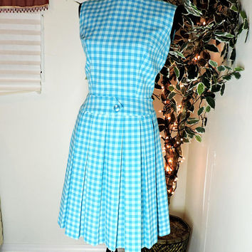 Gingham dress / XS size 3 / 4 / 60s shift dress / 1960s pleated summer dress / mod Retro blue sun dress / handmade