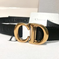 Dior 2019 new women's high-end CD metal buckle ribbon letter belt
