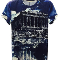 Multicolor Akropolis And Sky Printed T-shirt