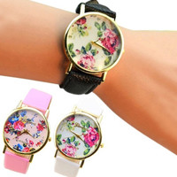 Admiring Smashing Elegant New Fashion Faux Leather Rose Flower Watch Dress Quartz Watches, cute, round dial, bracelet watch = 1956411012
