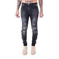 2017 New Hot sell high quality cotton cozy men's high street tide brand  biker jeans  male Leather fight fashion station  pants