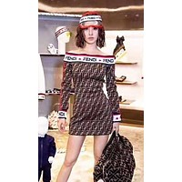 Fendi New fashion more letter print strapsless long sleeve dress women