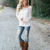 Embroidered Lace Sheer Blouse Ivory