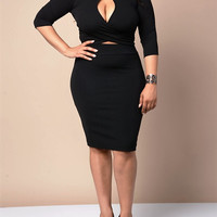 Plus Size Mauve Two piece/ Crop Top and Skirt