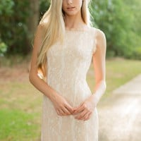 From The Heart Pale Blush Lace Dress
