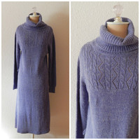 70s Purple Sweater Dress Cable Knit Turtle Neck Long Sleeve Full Length Winter M