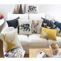 Happy deer Animals Cushion  cute Cartoon Home Pillow  Decoration Childlike simplicity Decorative Pillow  free shipping