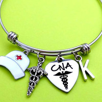 Personalized, Letter, Initial, CNA, Nurse, Heart, Bangle, Bracelet, Student, Caduceus, Nurse, Nursing, Assistant, Graduation, Gift