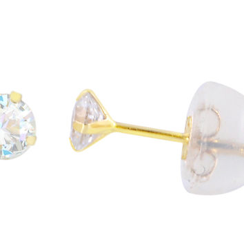 14k Yellow Gold Round CZ Cubic Zirconia Stud Earrings with Safety Silicone Backs