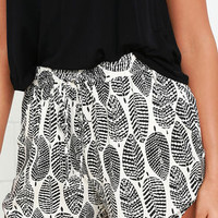 Black Swan Terracina Black and Cream Print Shorts