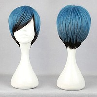 30cm blue multi color MSN Short Cosplay Wig anime wigs,Colorful Candy Colored synthetic Hair Extension Hair piece 1pcs WIG-304A
