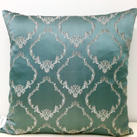Green Pillow Cover, Satin Jacquard Pillow, Green Pillow, Pillows, Decorative Pillows, Throw Pillows, Mint Green Couch Sofa Pillow Covers