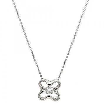 Gold Tone 04.213.0014.16.GT Pendant Necklace, with White Cubic Zirconia and White Micro Pave, Polished Finish, Rhodium Tone