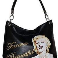 NEW BLACK MARILYN MONROE LICENSED FOREVER BEAUTIFUL HANDBAG