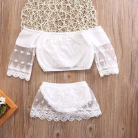 Sweet Newborn Baby Girl Clothing Set 2pcs Tops Long Sleeve Bottoms Cute White Outfits 2pcs Baby Girls Clothes 0-24M