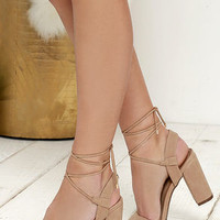 Watch Me Wow Natural Lace-Up Heels
